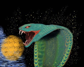 Kundalini,Snake Goddess, Good Fortune Serpent, Original Digital, Fine Art Print, Giclée Print