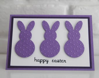 Purple Bunny Happy Easter Card, Thinking of You Easter Greeting Card, Kids Easter Note Card, Card for Grandchild
