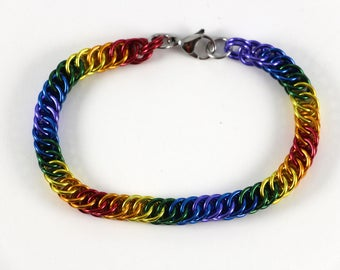 Persian Chainmaille Bracelet | Hand Crafted Chainmaille Jewelry | Handmade Bracelet | Rainbow | Anodized Aluminum