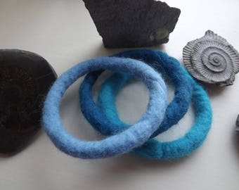 Set of Three Hand Felted Bangles in shades of blue inspired by the sea, made from natural wool - Made to Order