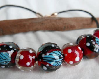 """""""Effect"""" necklace with Lampwork Glass Beads. The Lampwork beads. Lampwork"""