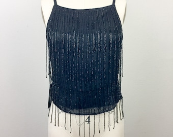 Vintage 90s Black Beaded Fringe Party Top Silk Evening Tank Papéll Boutique S