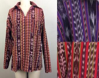 Vintage Deadstock 70s Ethnic Cotton Shirt Mexican Southwest Hippie Boho - 3 Colors Available Unisex