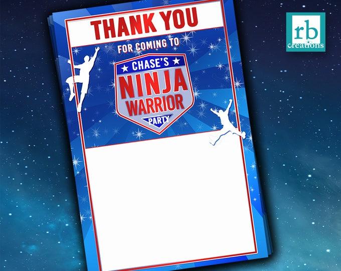 PRINTED Ninja Warrior Thank You Notes, Ninja Warrior Party, Ninja Warrior Birthday Party - Printed Flat Thank You Notes with Envelopes