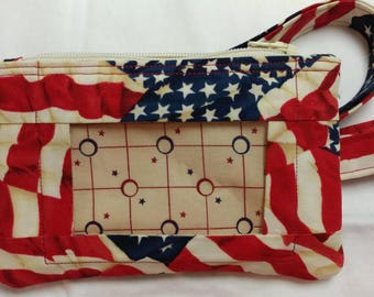 American Flag Wallet with ID Window and Lanyard