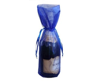 Royal Blue Bottle / Wine Organza Gift Bag