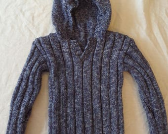 Hand Knitted Toddler's Hooded Jumper / Sweater / Pullover