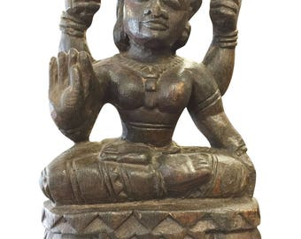 Zen Interior Handcarved Old Indian Goddess Sculpture, Statue Rustic Decor