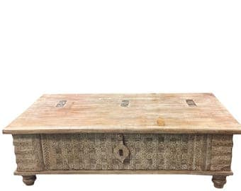 Vintage Trunk Decorative Design chest Bench Table, chai, Coffee Table  Rustic FARMHOUSE Shabbychic Interior FREE SHIP Cyber Sale