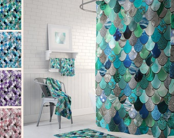 Mermaid Shower Curtains   Printed Shower Curtains   Mermaid Scales   Size:  71in X 74in