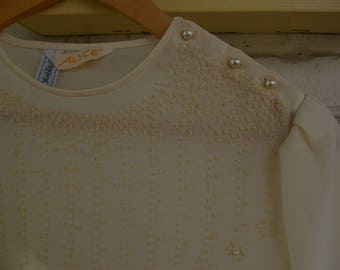 Vintage 70's Cream Sparkly Top - Medium- Bedazzled White Blouse- Buttons on Shoulder