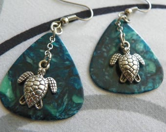 Silver turtle blue guitar pick earrings