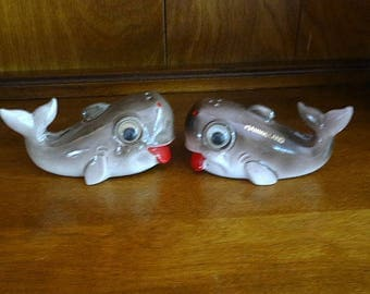 Googly Eye Whale Salt Pepper Shakers MarineLand Souvenirs with Cork Stoppers