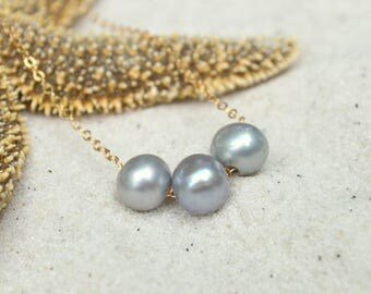 Gray Freshwater Pearl Necklace- Pearl Necklace- Gray Pearl Necklace
