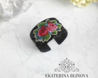 "Bracelet ""Night in Sofia"" Black bead embroidery bracelet Floral bracelet with roses Beadwork flowers  jewelry"