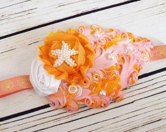 Handcrafted Starfish Headband - Pink Orange and White Feather Headband - Mermaid Birthday Accessory - Fancy Baby Headband - Christmas Gift