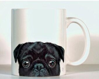 Pug Mug, Black Pug, Add Text of Your Choice, Pug Gift