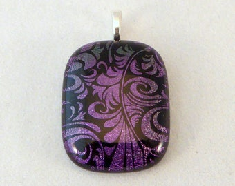 Purple and Black Dichroic Fused Glass Pendant, Fused Glass, Fused Glass Pendant, Glass Pendant, Dichroic Pendant, Necklace Pendant, Purple