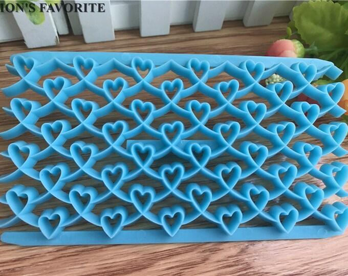 Heart Fondant Embosser Cake Cookie Cutter Imprint Set - E827