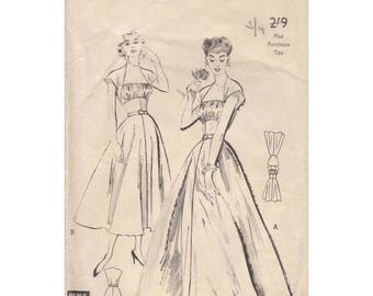 50s Butterick evening gown sewing pattern, 5508 , Bust 32 inches, empire waist, shirred inset bust, missing belt