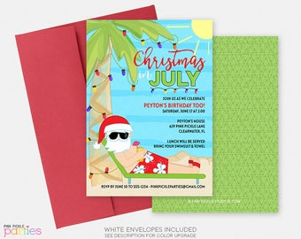 Christmas in July Invitation, Christmas in July, Summer Christmas, Summer Santa, Santa in July, xmas July, July Christmas  | 629