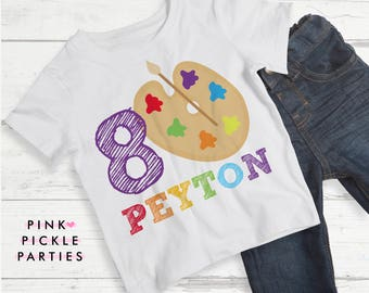 Art Party Birthday Shirts, T Shirt Transfers, T Shirt Iron On Transfer / No.401