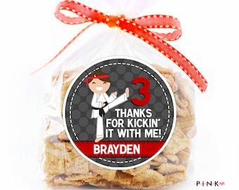 Karate Birthday Stickers, Favor Tags, Happy Birthday Stickers, Gift Tag, Favor Tag, Printable Favor Tags :No.214
