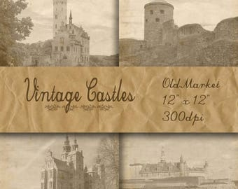 SALE- Vintage Castles Digital Papers - Castle Pictures -  Castle Backgrounds - 16 Designs - 12in x 12in - Commercial Use - INSTANT DOWNLOAD