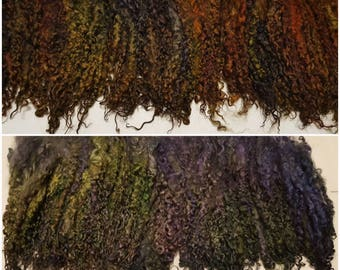 Wensleydale Locks - 7-9in - Hand processed, pulled, washed, and dyed from raw wool. 1 oz