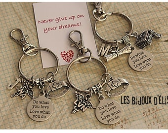 Personalized CNA or LVN or BSN or Student Keychain  D0 What You Love Prom Bag dangle Purse Jewelry (Kc109-Kc110-Kc111)