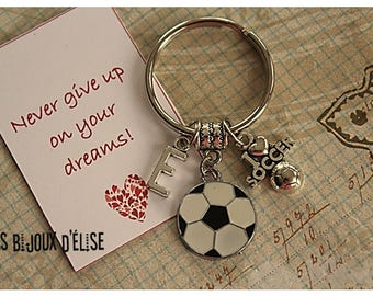 Personalized I love Soccer Keychain Sport Keychain Never Give Up on Your Dreams Keychain (KC133)