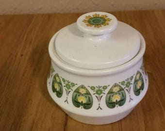 """On Sale Noritake Progression  """"Palos Verde"""" Progression Sugar Bowl with Lid Collectible Kitchen with Green and Yellow Hearts"""