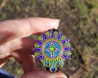 Psychedelic Saturn Cosmic Portal Key Lapel Pin Visionary Art Mandala