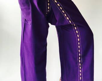 FW0007 Hand stitch Unisex Thai fisherman pants, stitch Inseam design for Thai Fisherman Pants Wide Leg pants, Wrap pants