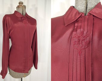 Vintage 1970s Blouse - High Collar Blouse Large, Burgundy Red Victorian Goth Long Sleeve Shirt