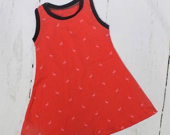 Flamingos Tank Dress, Girls Knit Dress, Peach, Pink Flamingo on Coral, Black Trim