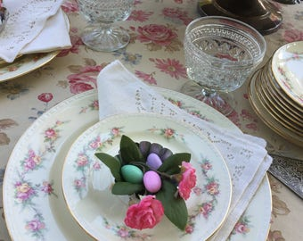 Shabby Chic Plates  // Set of 7 saucer, cup Plates // Laughlin Plates // Floral dessert Plates // Georgian Plates // Eggshell / Tea Party