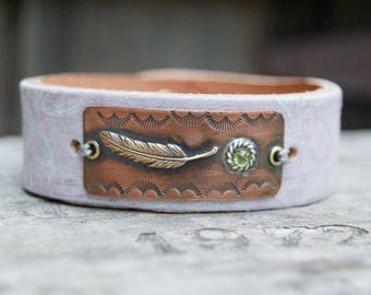Distressed Leather & Cooper Bracelet . Feather Peridot Stone. Boho. South Western Design. Cowgirl . Bracelet. Boho . By Nin and Bumm