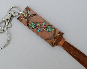 Leather Tassel Flower Garden Key Fob . Hand Painted. Hand Stamped . Split Ring . Silver Clasp . Purse Fob.