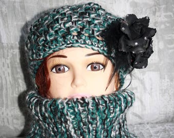 beret and collar closed green phildar quality Heather