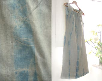 Natural linen dress, pastel blue shibori tie dye with plants, summer sleeveless rustic chic dress, off-white blue flax garment, S or XS size