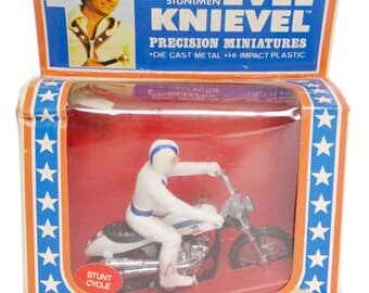 Vintage 70s Evel Knievel Precision Miniatures Stunt Cycle Ideal Unpunched NIB