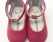 """Flamingo pink leather ankle-strap shoes for 16"""" Sasha dolls"""