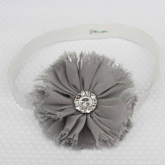 Baby Headband, Silver Flower Baby Headband, Newborn Baby Shower Gift, Infant Headbands, Flower Baby Headband, Gift for Baby, Silver Headband