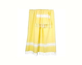 Fouta fringed 100x200cm vanilla color