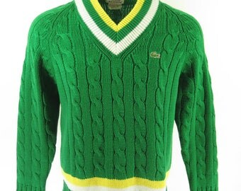 Vintage 80s Lacoste Tennis Sweater Mens L Green Stripes Cable Knit [H76H_1-7_Shelf]