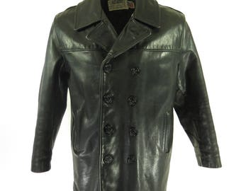 Vintage 80s Schott 740N Leather Pea Jacket Mens 42 Navy Double Breasted Peacoat [H90K_6-3_Leather]