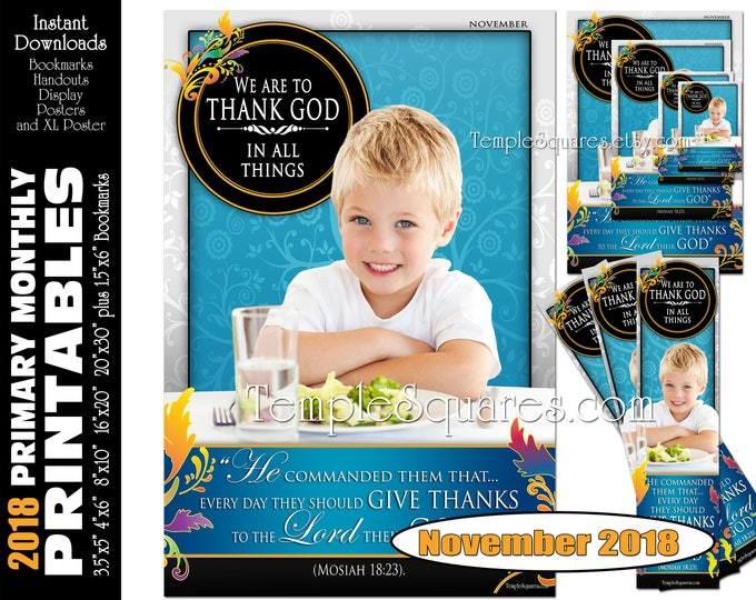 Printable Primary Monthly Posters November 2018 I am a Child of God Poster Bookmark and Handouts 5 sizes XL poster size down to handout size