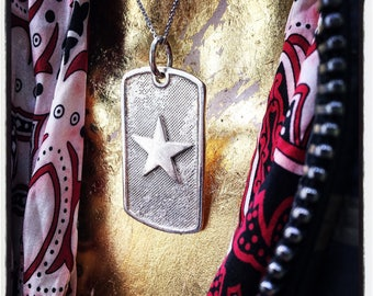 Sterling Silver American Flag Dog Tag - Star Dog Tag - Stars and Stripes Dog Tag - Military Dog Tag - Star Dog Tag - Dog Tag with Star