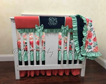 Coral, Navy, and Mint Mini Crib Bedding, Baby Girl Mini Crib Bedding, Girl Mini Crib Baby Bedding